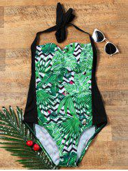 Palm Floral Zigzag One Piece Halter Swimsuit