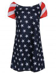 American Flag Patriotic T Shirt Dress - BLUE