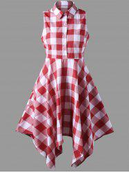 Sleeveless Plaid Asymmetrical Shirt Dress