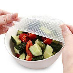 4Pcs Food Fresh Keeping Reusable Silicone Plastic Wrap - TRANSPARENT