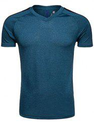 Quick Dry V Neck Mesh Panel Raglan Sleeve Training T-shirt - DEEP BLUE