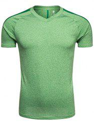 Quick Dry V Neck Mesh Panel Raglan Sleeve Training T-shirt - APPLE GREEN