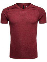Quick Dry V Neck Mesh Panel Raglan Sleeve Training T-shirt - CLARET