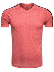 Quick Dry V Neck Mesh Panel Raglan Sleeve Training T-shirt