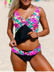 V Neck Backless Tankini Set - BLACK M