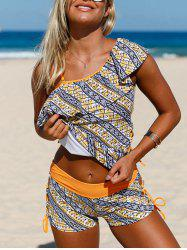 Padded One Shoulder Printed Tankini Set - COLORMIX S