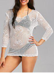 See Through Openwork Lace Cover Up Top