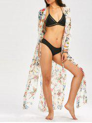 Floral Long Beach Kimono Slit Cover Up