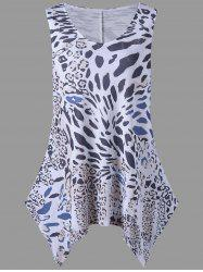 Leopard Print Plus Size Sleeveless Tunic Top