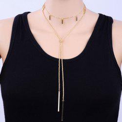 Alloy Layered Bar Pendant Necklace