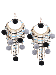 Finged Fuzzy Ball Beaded Tassel Earrings