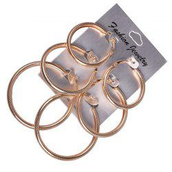 Alloy Round Statement Hoop Earring Set - GOLDEN