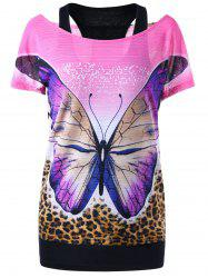 Butterfly Print Tee and Racerback Tank Top - MULTICOLOR 2XL