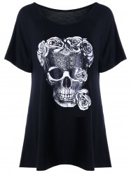 Raglan Sleeve Rose Skull T-shirt