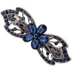Faux Gem Hollow Out Floral Shape Barrette - BLUE