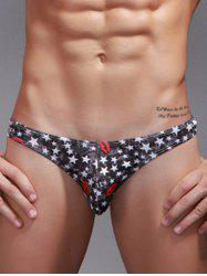 Lip and Star Print Bikini Briefs - COLORMIX