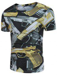 Short Sleeve 3D Guns Print T-shirt - COLORMIX