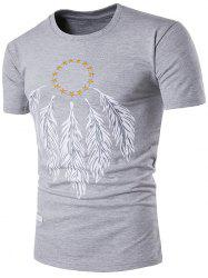 Leaf Print Star Embroidery Tee