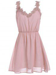 V Neck Lace Trim Chiffon Cocktail Dress - PINK