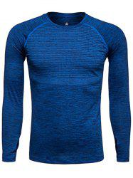 Long Sleeve Polka Dot Print Quick Dry Training T-shirt - DEEP BLUE