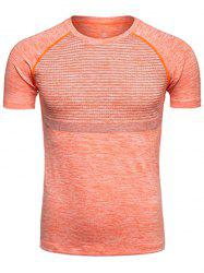 Polka Dot Print Crew Neck Quick Dry Training T-shirt - ORANGE XL