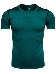 Crew Neck Quick Dry Suture Design Training T-shirt - BLACKISH GREEN