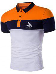 Feather Printed Color Block Polo Shirt