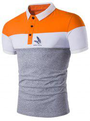 Feather Printed Color Block Polo Shirt - GRAY