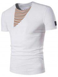 Striped Panel Patch Design Tee
