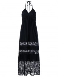 Crochet Panel Halter Maxi Dress - BLACK