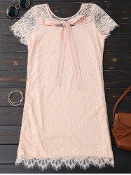 Self Tie Eyelash Lace Mini Dress - PINK