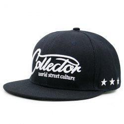 Letters Stars Embroidered Flat Brim Baseball Hat -