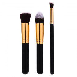 3Pcs Portable Beauty Makeup Brushes Set For Face - BLACK AND GOLDEN