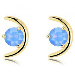 Metallic Plating Crescent Faux Gem Stud Earrings