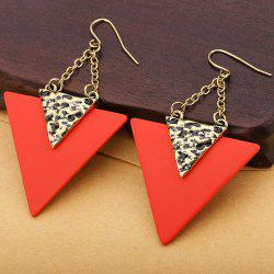 Triangle Pendant Engraved Metallic Hook Earrings