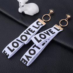 Metal Circle Letters Ribbon Drop Earrings