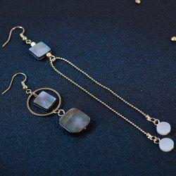 Asymmetrical Faux Shell Metallic Drop Earrings