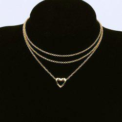 Layer Metal Hollow Out Heart Pendant Necklace