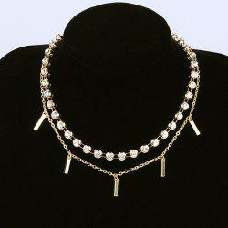 Metallic Strip Rhinestone Layer Choker Necklace