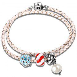 Faux Leather Rope Pearl Snow Beaded Bracelet