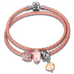 Layer Faux Cystal Beaded Leather Rope Bracelet - PINK