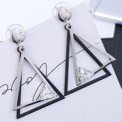 Rhinestone Hollow Out Geometric Earrings - SILVER