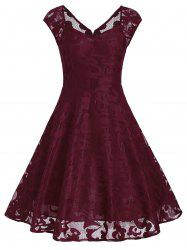 Vintage Sweetheart Neck Fit and Flare Dress - WINE RED