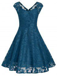 Vintage Sweetheart Neck Fit et Flare Dress - Bleu Canard