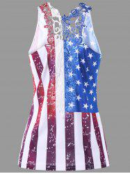 Lace Trim Patriotic American Flag Top -