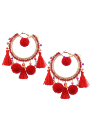 Beaded Tassel Fuzzy Ball Hoop Drop Earrings