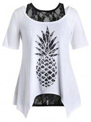 Plus Size Pineapple T-Shirt and Lace Tank Top