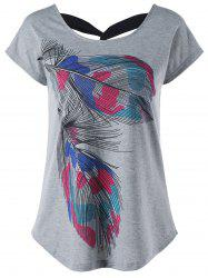 Back Twist Short Sleeve Feather Print Tee - GRAY