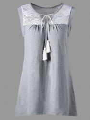 Sleeveless Sheer Lace Yoke Tunic Top - GRAY XL