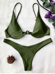 Underwired Plunge Bathing Suit - GREEN